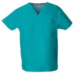 Scrub Top Unisex V-Neck - Dickies - With Embroidery
